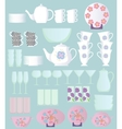 dishes sset cartoon vector image vector image