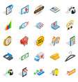 financial center icons set isometric style vector image vector image