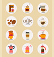flat coffee stuff icon collection vector image