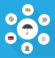 flat icon incoming set of parasol cash vector image vector image