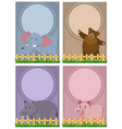 four background template with cute animals vector image vector image