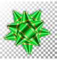 green bow 3d ribbon decor element package shiny vector image