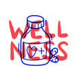 hand draw doodle wellness medical pill icon in vector image