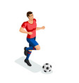 isometric a man plays football training running vector image