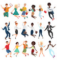 jumping and dancing happy young people in casual vector image vector image