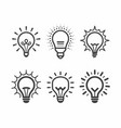 lit light bulb icons set vector image vector image