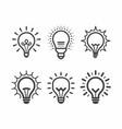 lit light bulb icons set vector image vector image