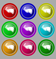 Liver icon sign symbol on nine round colourful vector image vector image