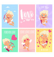love cards cute little amurs or cupid st vector image vector image