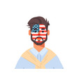 man wuth united states flag face painted vector image vector image