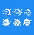 natural milk logo templates set organic dairy vector image vector image