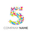 number five logo with blue yellow red particles vector image vector image