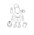 outline set for newborns pacifier and clothes vector image vector image