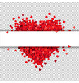 red heart isolated with banner transparent vector image vector image