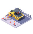 road roller at road construction site vector image