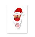 santa claus head label wears surgical mask concept vector image vector image