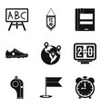 school time icons set simple style vector image vector image