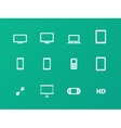 Screens icons on green background vector image