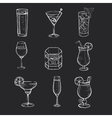 set different hand drawn beverages on the vector image