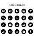 set of 20 editable analytics icons includes vector image vector image