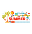 Summer - logo word with icons in flat style vector image vector image
