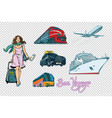 tourist transport set on isolated background vector image vector image