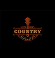 vintage guitar cowboy western country music logo vector image vector image