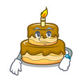 waiting birthday cake mascot cartoon vector image