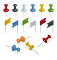 isometric set of push pins and flags in different vector image