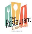 the restaurant fork spoon knife white background v vector image