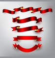 red and gold glossy ribbon set for design vector image