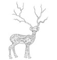 adult coloring bookpage a cute christmas deer vector image