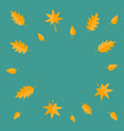 autumn leaves frame yellow orange flying leaf set vector image