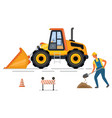 backhoe and digger cone and barrier road vector image vector image