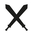 black and white crossed swords silhouette vector image vector image