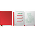 book with red panda on white background vector image vector image