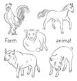 bull cock horse pig sheep vector image vector image