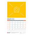 calendar planner template for 2018 year july vector image vector image