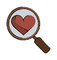 cartoon heart love loupe search icon vector image