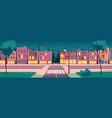 cartoon summer night city landscape vector image vector image