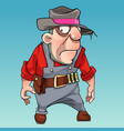 cartoon surprised man in hat with bandolier vector image vector image