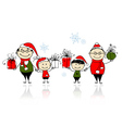 Christmas gifts Happy family together vector image vector image