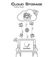 cloud storage person use tablet to download more vector image vector image