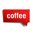 coffee red 3d realistic paper speech bubble vector image