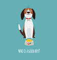 cute beagle dog card with food bowl and text who vector image vector image