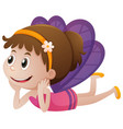 cute fairy with purple wings vector image vector image