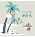 Cute polar bear climbed a palm tree vector image vector image