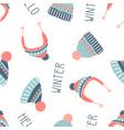 cute winter seamless pattern hats vector image