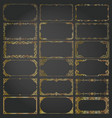 decorative rectangle frames and borders set gold vector image vector image