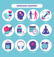 depression treatment concept icons set in flat vector image